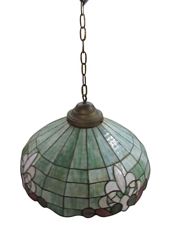 Down Lights - Vintage 24 in. Green Stained Glass Down Pendant Light