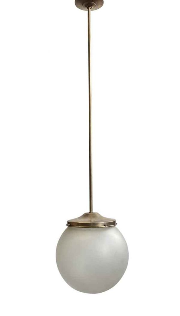 Globes - 1940s Frosted 12 in. Globe Brass Pole Pendant Light