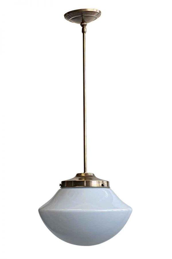 Globes - 1960s Mushroom Schoolhouse 12 in. Globe Brass Pendant Light