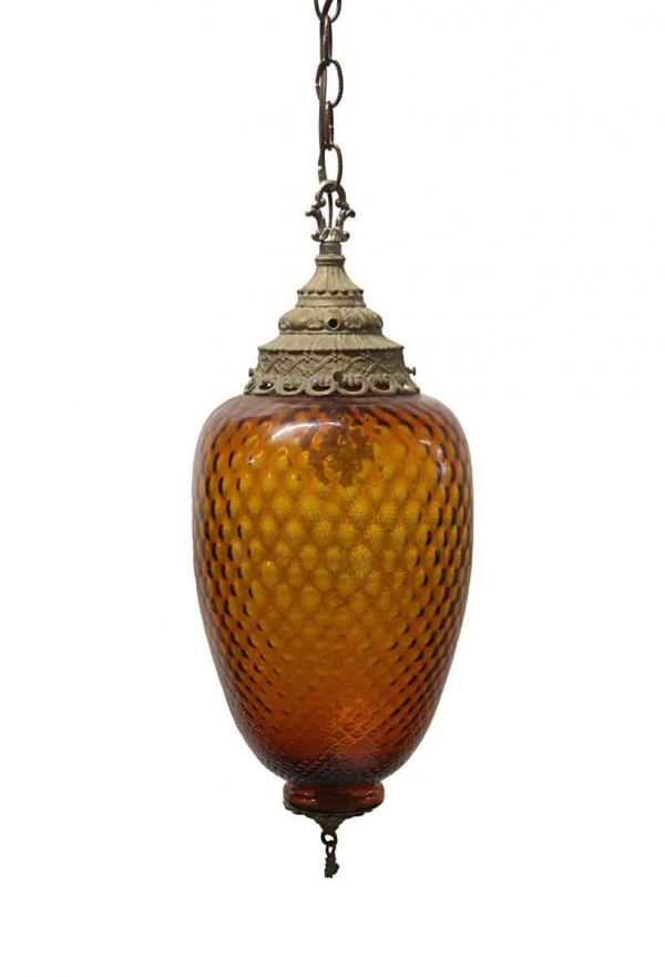 Globes - 1970s Amber Honeycomb Murano Glass Pendant Light