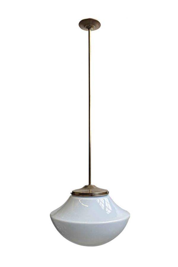 Globes - 1970s Mushroom Schoolhouse 17.5 in. Globe Brass Pendant Light