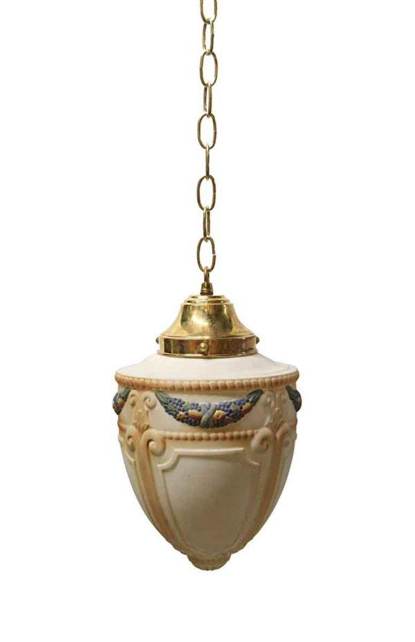 Globes - Antique Victorian Hand Painted Cornucopia Globe Pendant Light