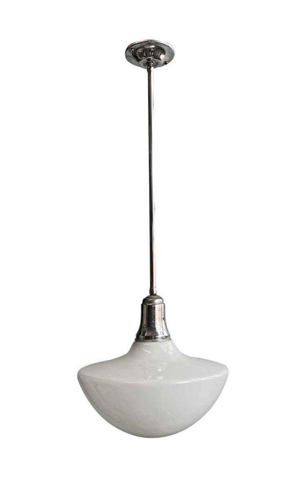 Globes - Mid Century 13.75 in. Mushroom Globe Nickel Pole Pendant Light