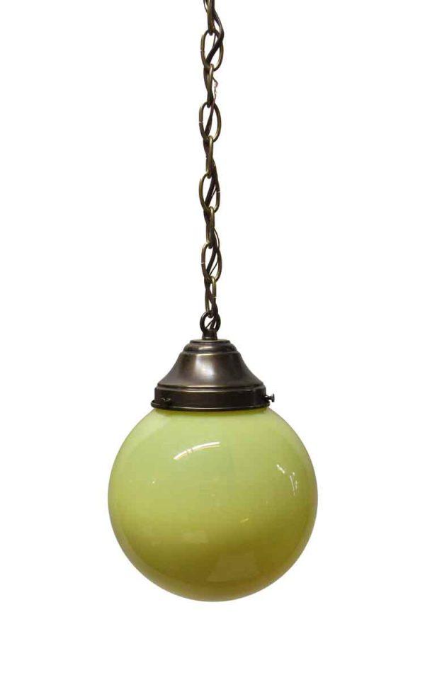 Globes - Modern Hand Blown Yellow Glass Globe Pendant Light