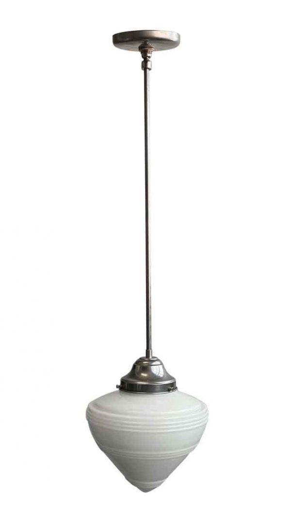 Globes - Original Cone Milk Glass Shade Steel Pole Pendant Light