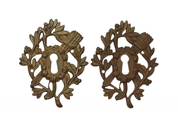 Keyhole Covers - Pair of Antique Victorian Brass Cut Out of Keyhole Covers