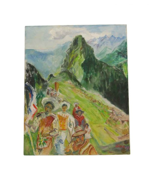 Paintings - Acrylic Mid Century Painting of Figures on a Mountain Village