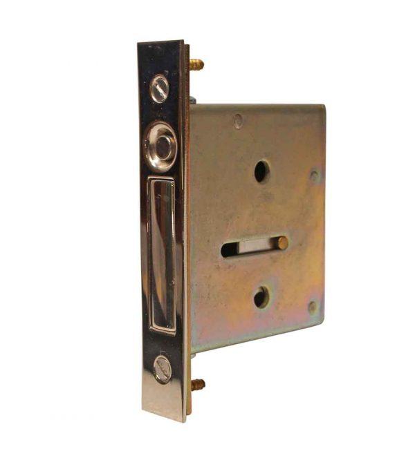 Pocket Door Hardware - Salvaged Chrome Over Steel Pocket Door Mortise Lock