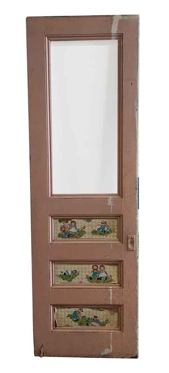 Pocket Doors - Antique 1 Lite 3 Pane Wood Pocket Door 95 x 30.5