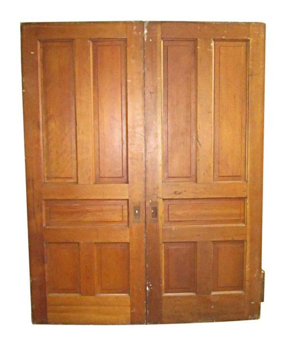 Pocket Doors - Antique 5 Pane Pine Double Pocket Doors 84.5 x 66.5
