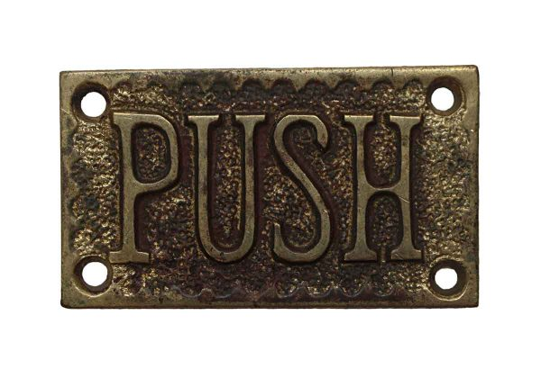 Push Plates - Antique Brass 'Push' Commercial Door Plate