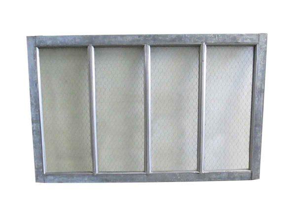 Reclaimed Windows - Reclaimed Pebbled Chicken Wire Glass Metal Window 48 x 30