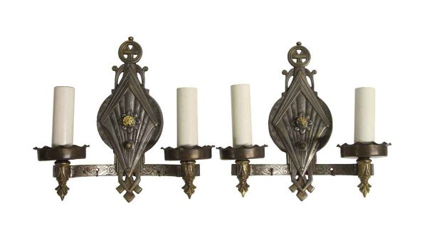 Sconces & Wall Lighting - 1930s Art Deco Nickel Over Brass 2 Arm Wall Sconces