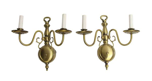 Sconces & Wall Lighting - Pair of Brushed Brass Colonial Wall Sconces