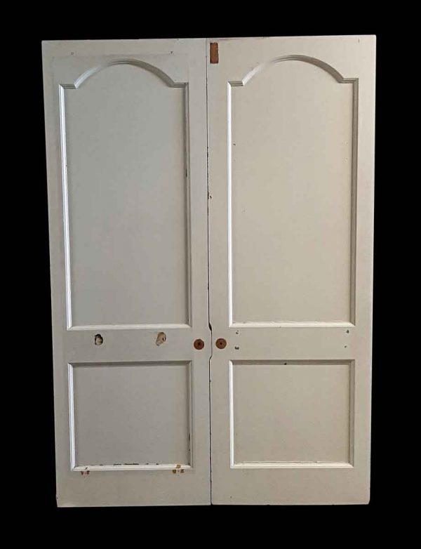 Standard Doors - Vintage 2 Pane White Wood Double Doors 89.25 x 61.375