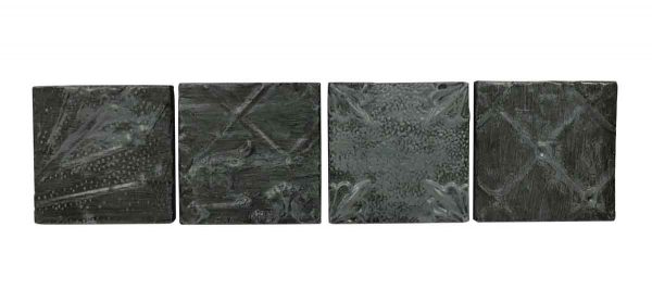 Tin Panels - Set of 4 Black Waxed Antique Tin Panels