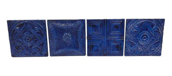 Tin Panels - Set of 4 Blue Antique Tin Panels