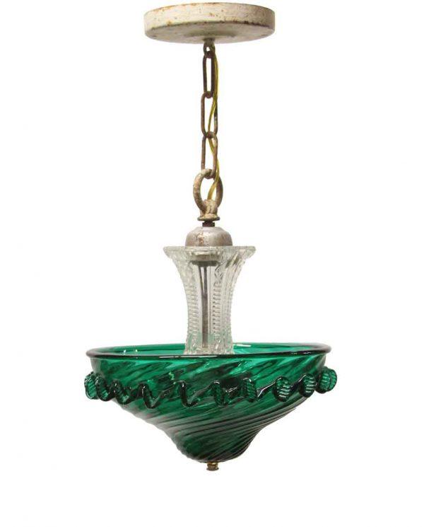 Up Lights - 1950s Modern Emerald Green Glass Pendant Light