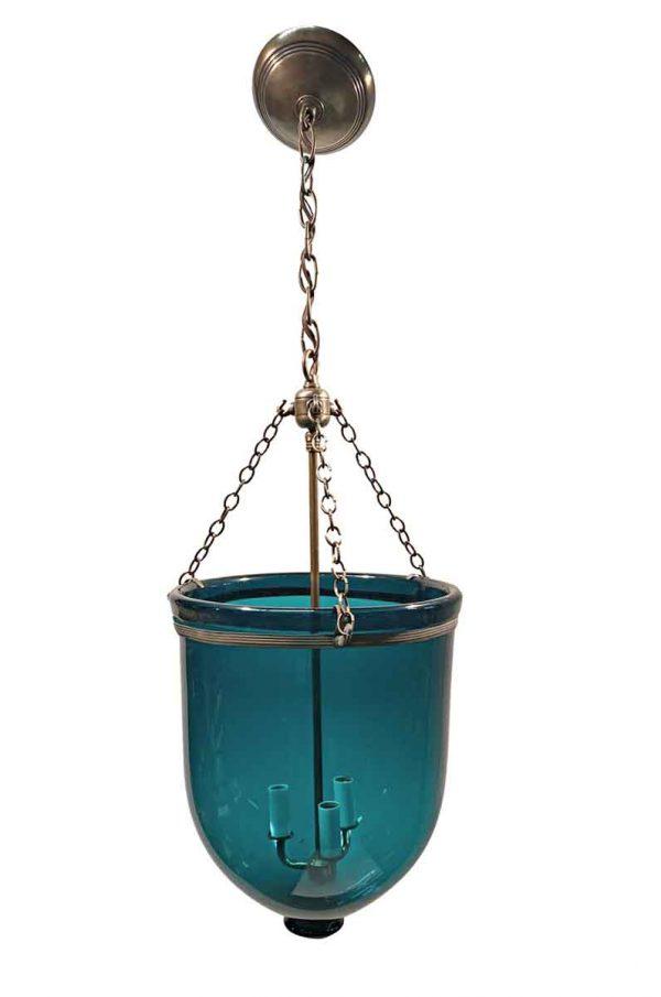 Up Lights - 19th Century English 12 in. Blue Bell Jar Pendant Lantern