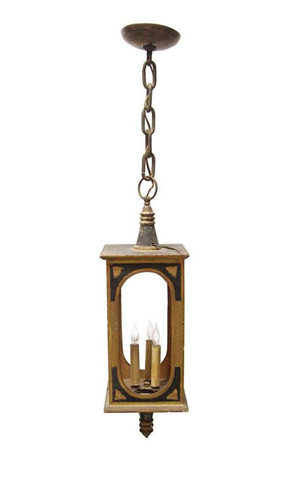 Up Lights - Antique Victorian Wood Gold Leaf & Black Pendant Light