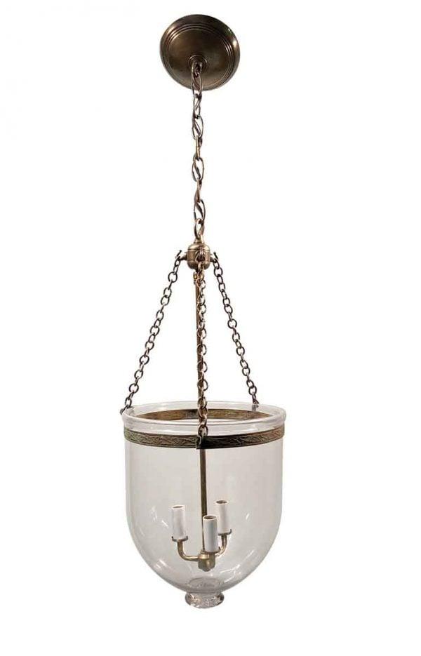 Wall & Ceiling Lanterns - 19th Century English 10.5 in. Clear Bell Jar Pendant Lantern