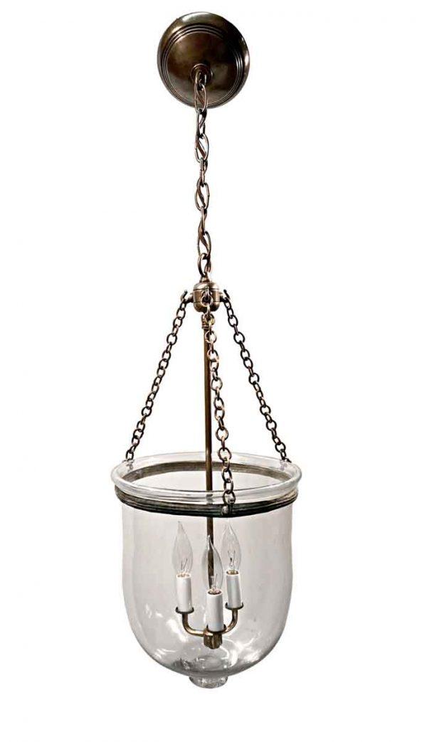 Wall & Ceiling Lanterns - 19th Century English Clear 10.5 in. Bell Jar Pendant Lantern
