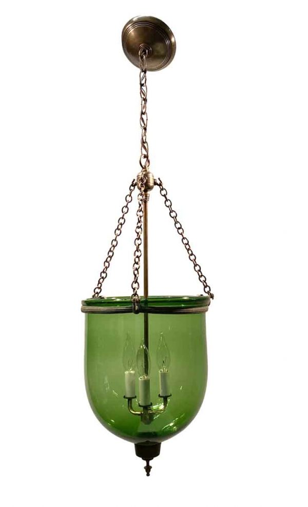 Wall & Ceiling Lanterns - 19th Century Hand Blown 10.5 Green Glass Bell Jar Pendant Light