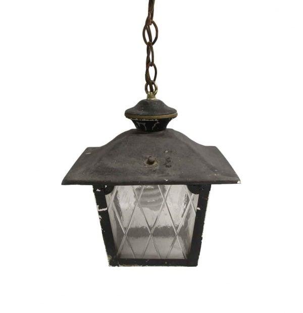 Wall & Ceiling Lanterns - Arts & Crafts Black Metal & Glass Exterior Ceiling Lantern