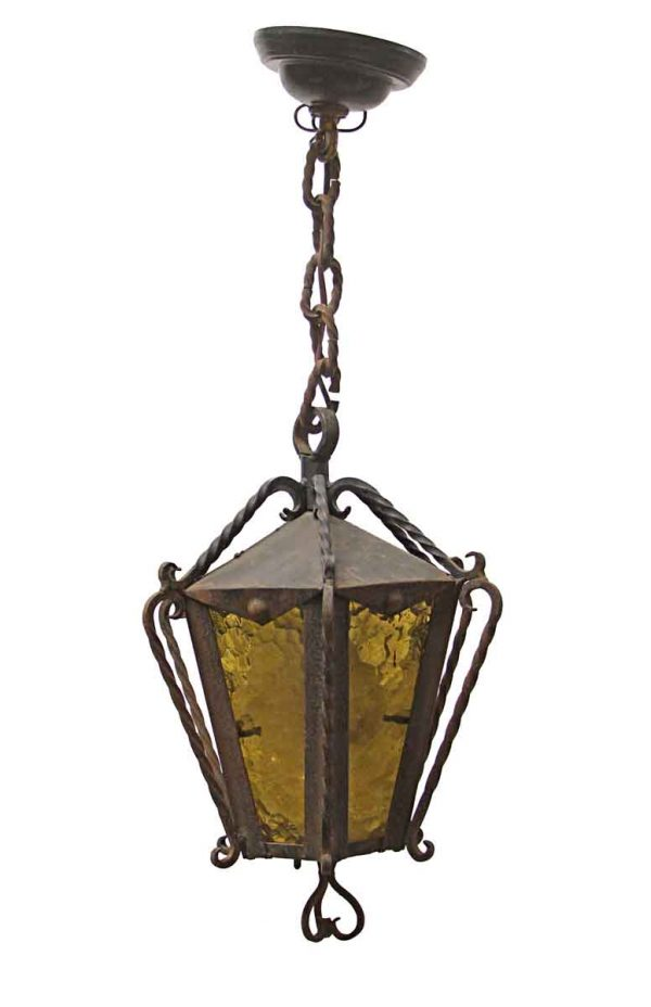 Wall & Ceiling Lanterns - Arts & Crafts Wrought Iron Exterior Ceiling Lantern