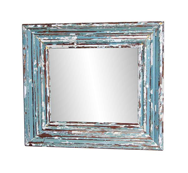 Wood Molding Mirrors - Handmade Blue Reclaimed Wooden Mirror 38.25 x 43