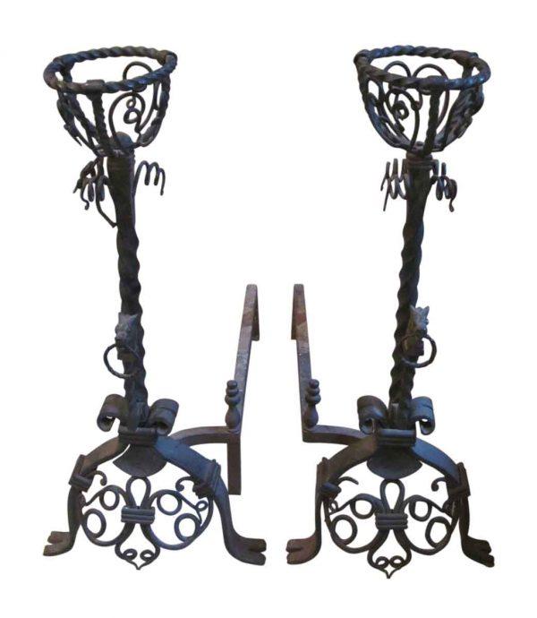 Andirons - Pair Figural Wrought Iron Andirons