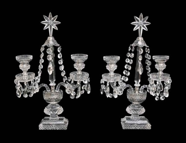 Candelabra Lamps - Pair of Double Arm Crystal Candelabras
