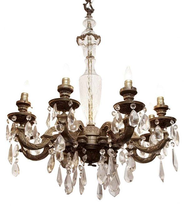 Chandeliers - 1930s Victorian 8 Arm Crystal & Bronze Chandelier