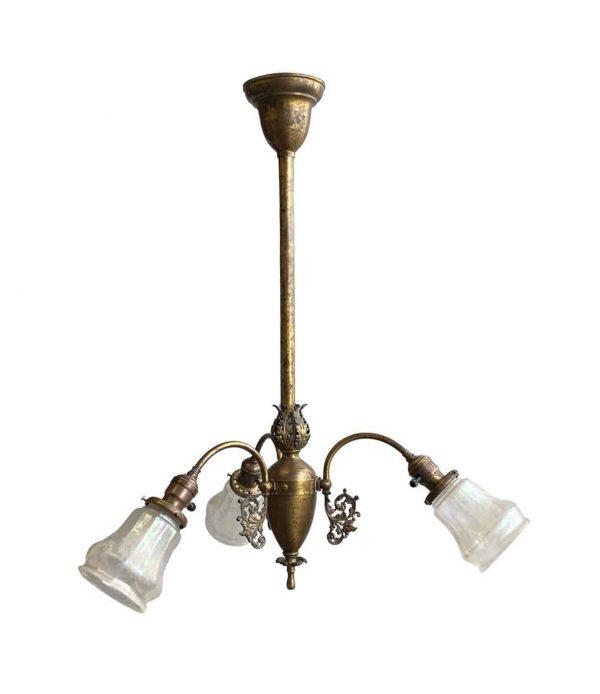 Chandeliers - 19th Century Victorian Brass 3 Light Gas Pendant Light