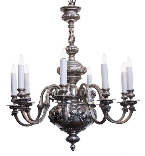 Chandeliers - Antique English Regency Silvered Bronze 8 Light Chandelier