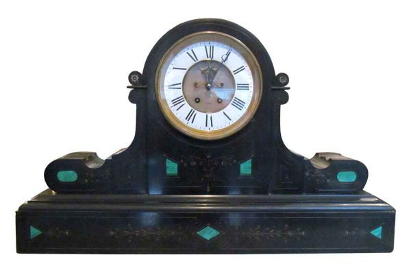 Clocks  - 1860s Brocot & Delettrez Style Carved Black Slate Clock with Inlaid Malachite