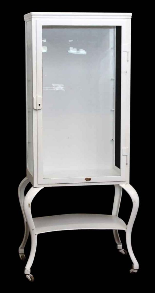 Commercial Furniture - White Medical Cabinet with Glass Shelves