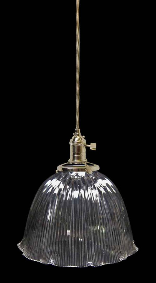 Down Lights - Antique Glass 9.75 in. Holophane Pendant Light