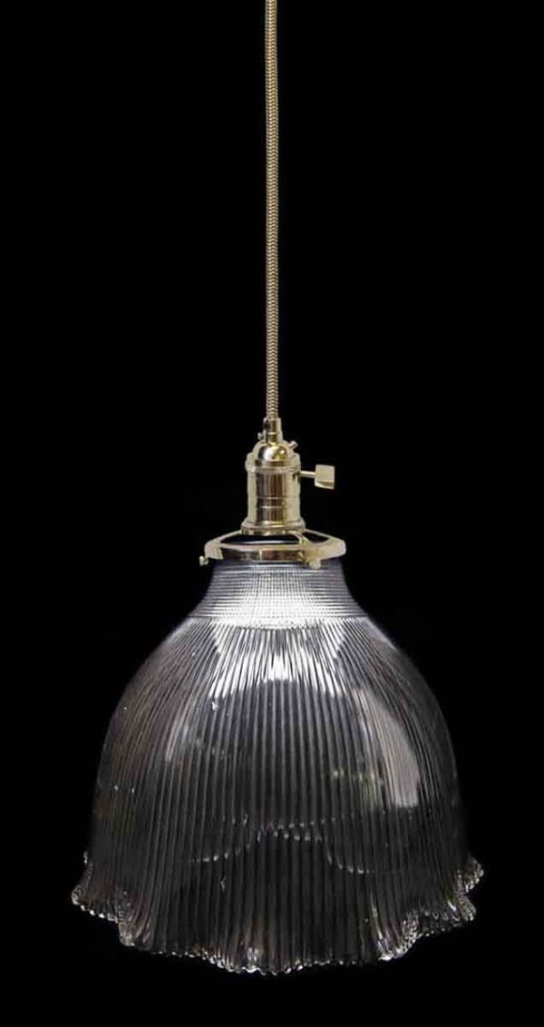Down Lights - Custom Antique 10.875 in. Clear Holophane Pendant Light