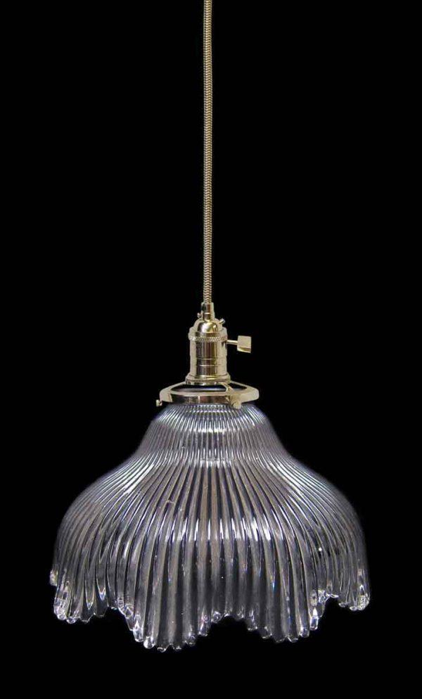 Down Lights - Custom Antique 8 in. Clear Glass Holophane Pendant Light