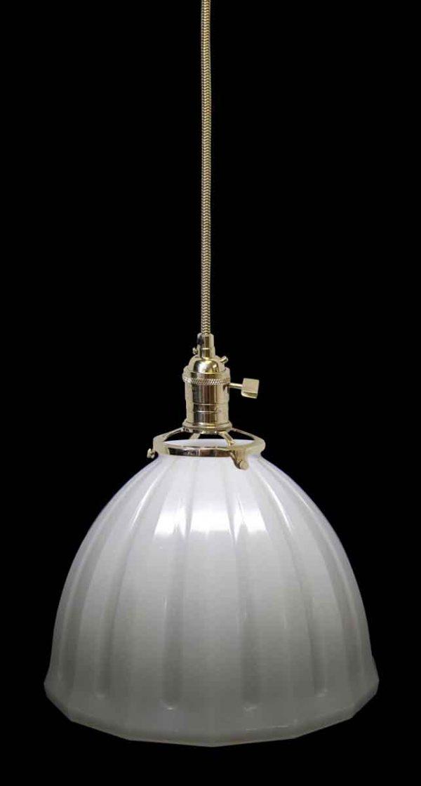 Down Lights - Custom Antique White Milk Glass 10 in. Dome Pendant Light