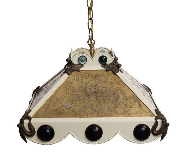 Down Lights - Restored Eclectic Jeweled Fleur de lis Brass Pendant Light