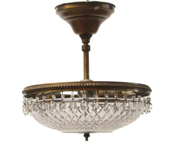 Flush & Semi Flush Mounts - 1920s Victorian Cut Crystal & Brass Semi Flush Mount Light