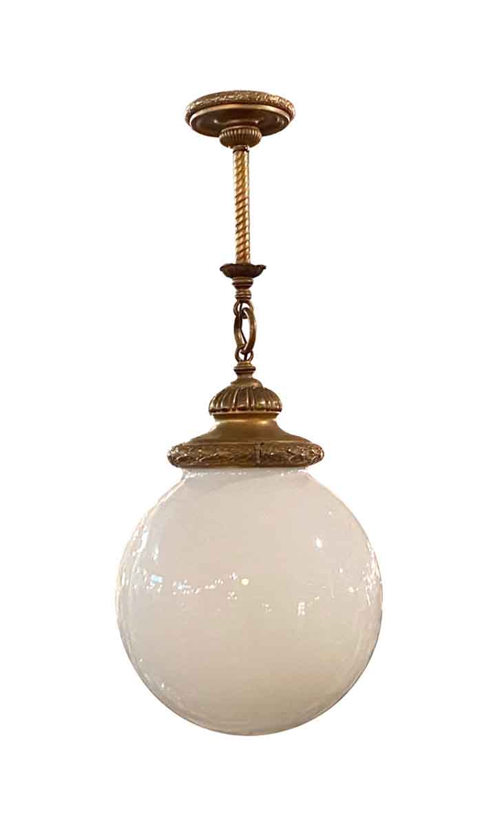 Picture of: Antique Brass Pendant Light With Large Round Opal Globe Olde Good Things