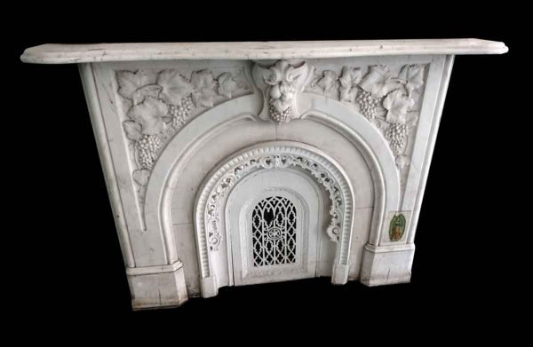 Marble Mantel - Carved Carrara Marble Mantel with Grape and Vine Motif