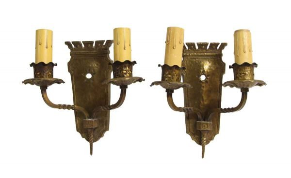 Sconces & Wall Lighting - 1910 Arts & Crafts Bronze Wall Sconces