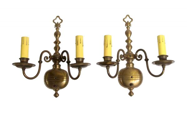 Sconces & Wall Lighting - Antique Cast Brass 2 Arm Williamsburg Wall Sconces