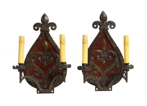 Sconces & Wall Lighting - Pair of Fleur De Lis Two Arm Wrought Iron Wall Sconces