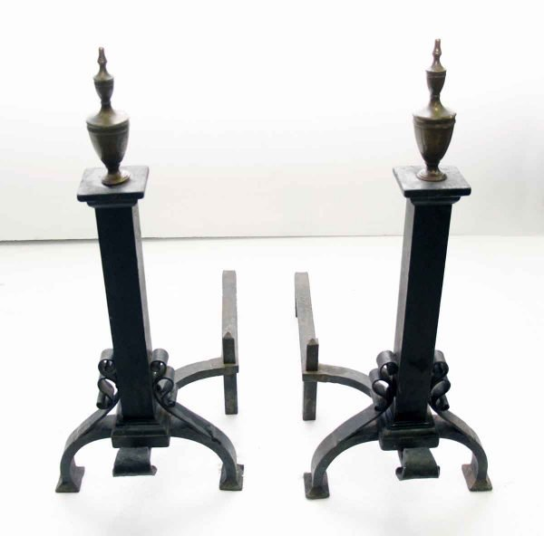 Andirons - Antique Wrought Iron Andirons with Brass Tips