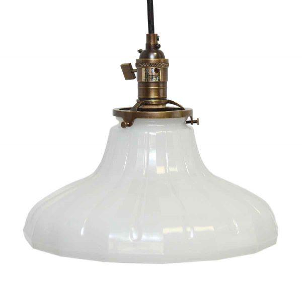 1920s Antique 11 in. Milk Glass Pendant Light